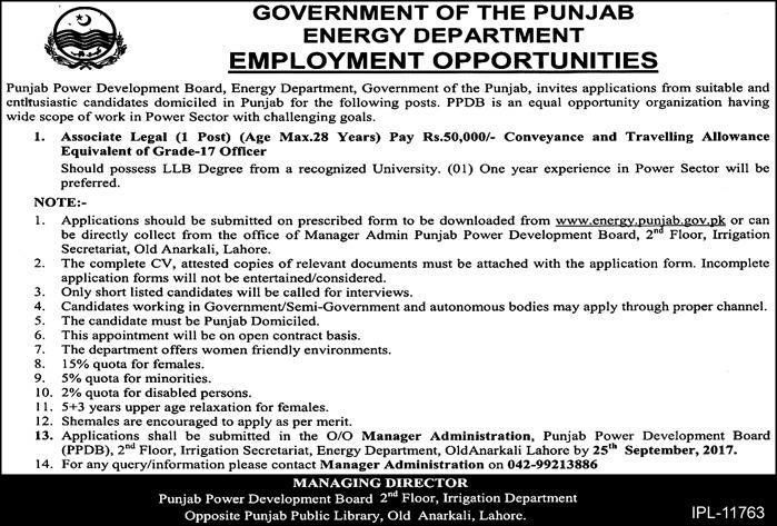 Government Jobs Opportunities in Energy Department Government of Punjab http://ift.tt/2wPU1E1   Punjab Power Development Board Energy Department Government of the Punjab invites applications from suitable and Enthusiastic candidates domiciled in Punjab for the following posts. PPDB is an equal opportunity organization having wide scope of work in Power Sector with challenging goals  Energy Department Government of Punjab  Last Date:  25 Sept 2017  Location:  Punjab  Posted on:  09 Sept 2017…