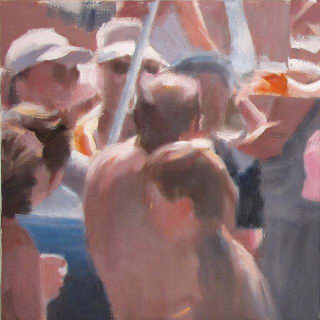I bagnanti #1542 The Bathers, Oil on canvas, cm 30x30