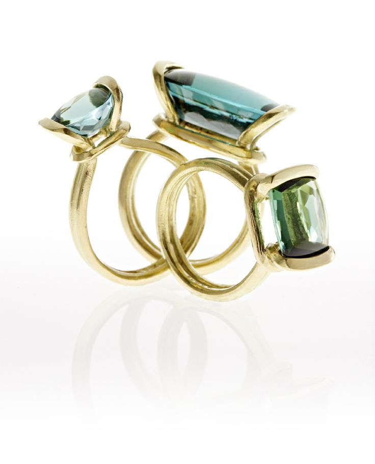 Buckle rings blue and green Tourmalines  Kamilla Ruberg
