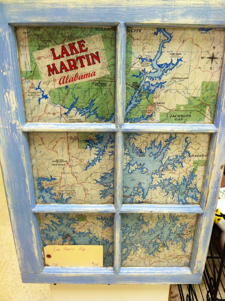 Exceptional I Love This Lake Map Behind The Painted Old Window