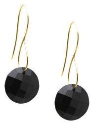 Tresor Collection - Black Spinel Round Earring In 18K Yellow Gold