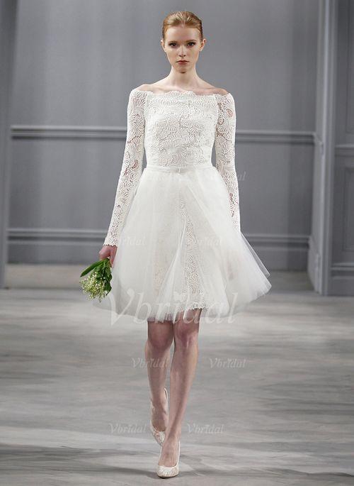 Robes de mariée - $149.99 - Forme Princesse Epaules nues Court/Mini Tulle Dentelle Robe de mariée (00205003382)
