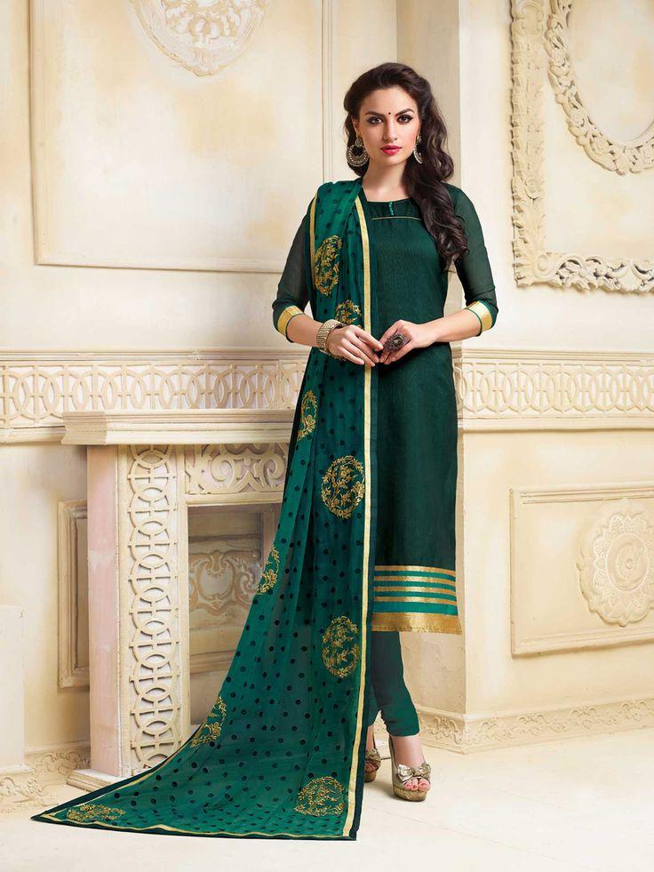 f796df05ad Dark Green Banarasi Chanderi Churidar Suit 65749 | Churidar Salwar Suit |  Churidar, Punjabi suits, Neck designs for suits