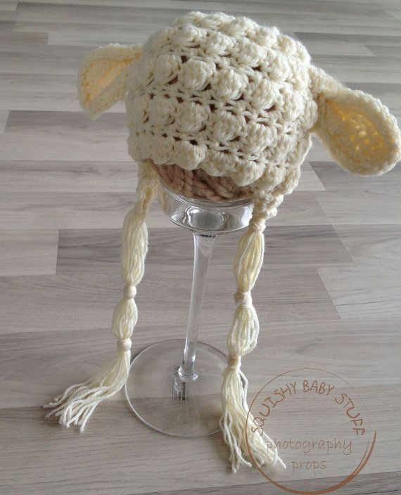 Lamb hat Crocheted Baby Hat Photo Prop Retro by SquishyBabyStuff, $20.00