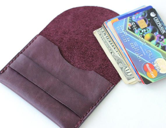 Check out this item in my Etsy shop https://www.etsy.com/listing/550567034/purple-leather-card-holder-wallet