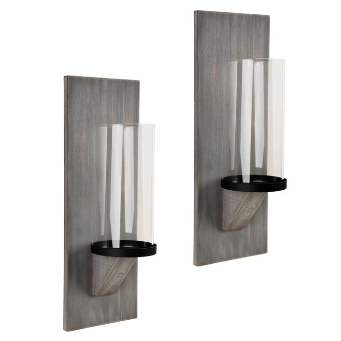 Heritage Home Grey Wash Wood Wall Sconce Candle Holders Set Of 2 Bed Bath Beyond Candle Holder Wall Sconce Candle Wall Sconces Wood Candle Sconce