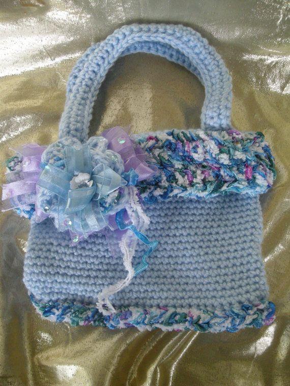 Crochet Purse, Purse, Fancy Purse, Blue and Purple purse, Beaded,  OOAK, Wedding, Handmade by CelinaRoseDesigns on etsy, $20.00