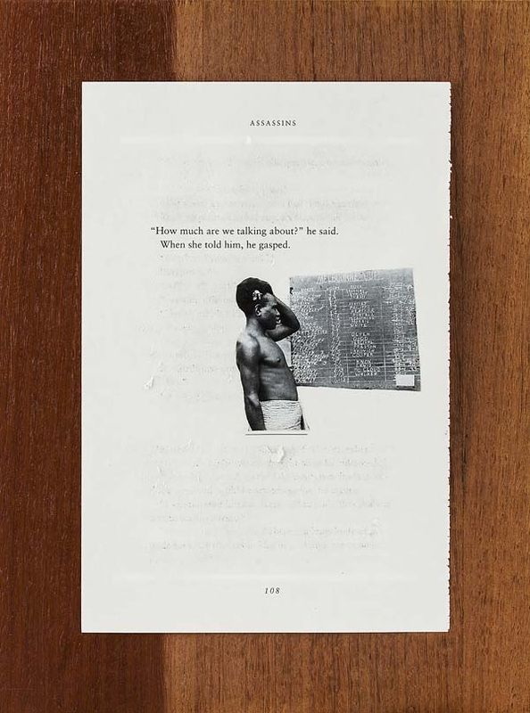 #5 in the series called The Sorrows, 2015. Found text (partial erasure of book page), found image, found board, glue. © Yasmin Eghtesadi