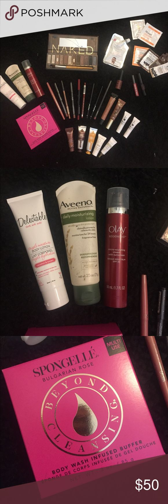 Makeup/ skincare bundle Makeup/ skin care bundle. Brands include:  MAC, SMASHBOX, URBAN DECAY, TOO FACED, OPI, LORAC, SEPHORA, NYX, SKIN & CO. ETC Lip colors, Mascara, eyeshadow, eye liner, etc. skin care, lotions, nail polish/ cuticle oil. ETC.  some products are NEW and some HAVE been used. Selling AS IS. UD naked pallet is missing some shades. Lettering on front of packaging has faded off and mirror is cracked. brushes need to be cleaned. I have NOT cleaned these brushes. They have been…