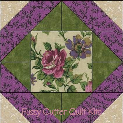Purple Pink Roses Shabby Chic Floral Flowers Fabric Easy Pre-Cut Quilt Blocks Top Squares Kit