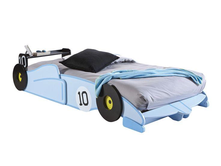 Lit voiture en bois avec sommier 90X190/200 cm WOODY Bleu, Avec matelas
