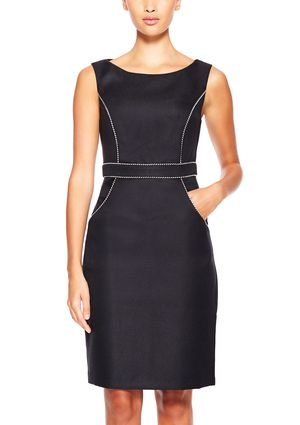 On ideel: CONNECTED Sleeveless Textured Piping Detail Sheath Dress