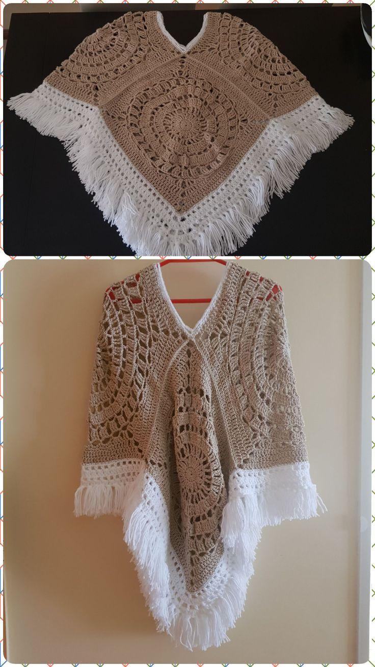 Poncho a crochet Crema y blanco - T: Adulto