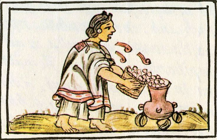 If only we could hear this Aztec woman's song, while she throws maize into a pot... Florentine Codex Book 5