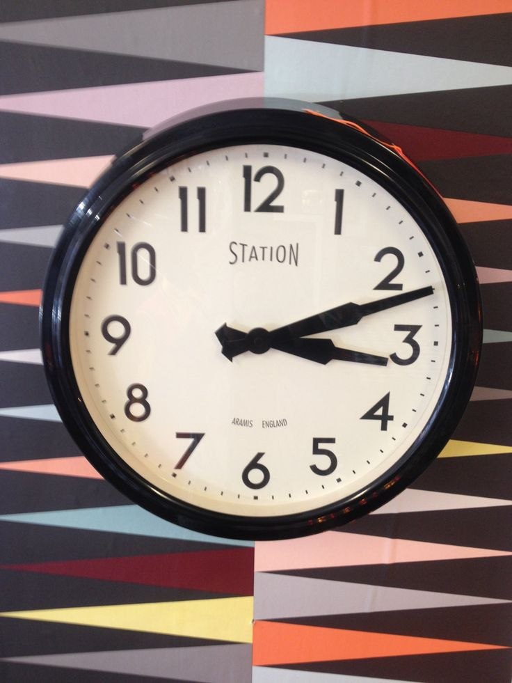 Large Vintage Chic 50's Newgate Electric Station Wall Clock - Black by Aramis England. by ModBotherers on Etsy