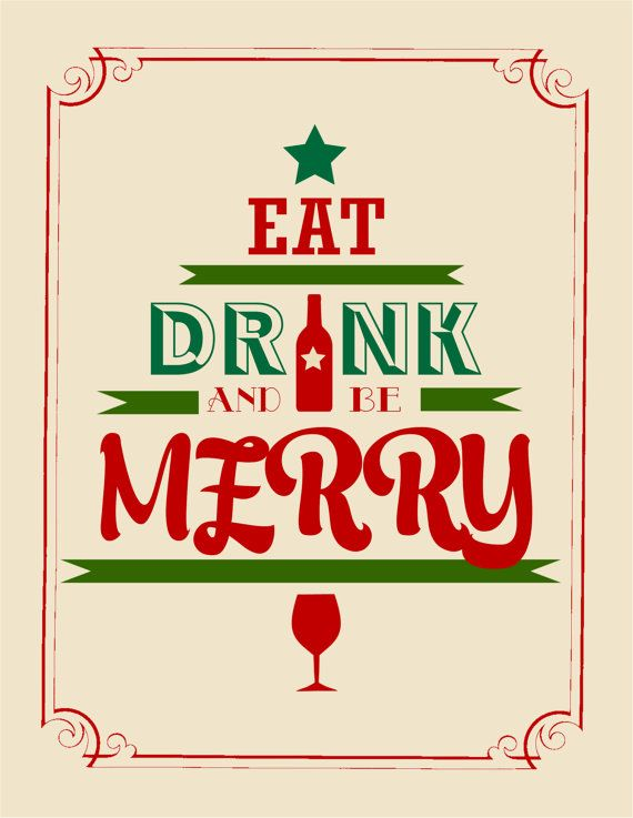 eat drink and be merry art print by heartsoulminddesigns