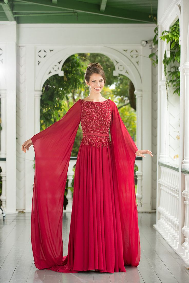 Raspberry Red Beaded Floral Bodice A-line Unique Chiffon Evening Dress Long…