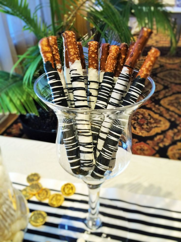 chocolate coated pretzels in a James bond theme party