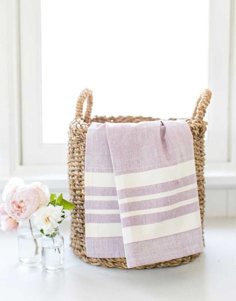 Fair Trade Striped Purple Hand Towel