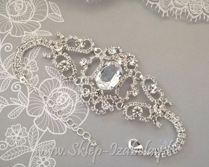 Bransoletka ślubna z kryształkami