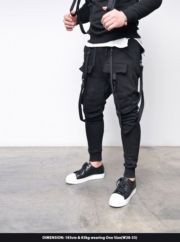 Bottoms :: Double Strap Cargo Baggy Jogger-Sweatpants 275 - Mens Fashion Clothing For An Attractive Guy Look
