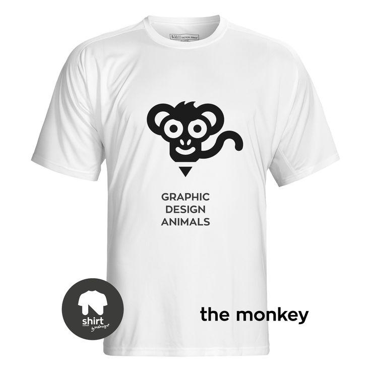 Graphic Design Animals T-Shirt Series, The Monkey #T-shirt #design #graphic_design by George Nikolaidis