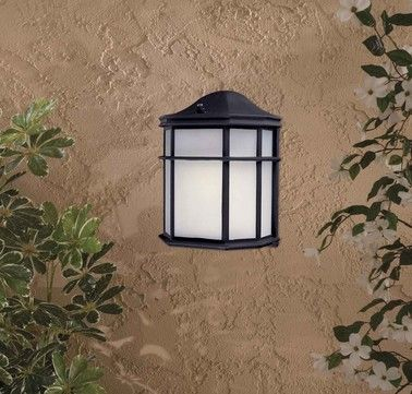 "Brand: The Great Outdoors  Finish: Black  Style: Craftsman/Mission  Height: 9""  Width: 7""  Extends: 4""  Type of Bulbs: Compact Fluorescent  Number of Bulbs: 1  Max Wattage: 13  Price: $43.90"