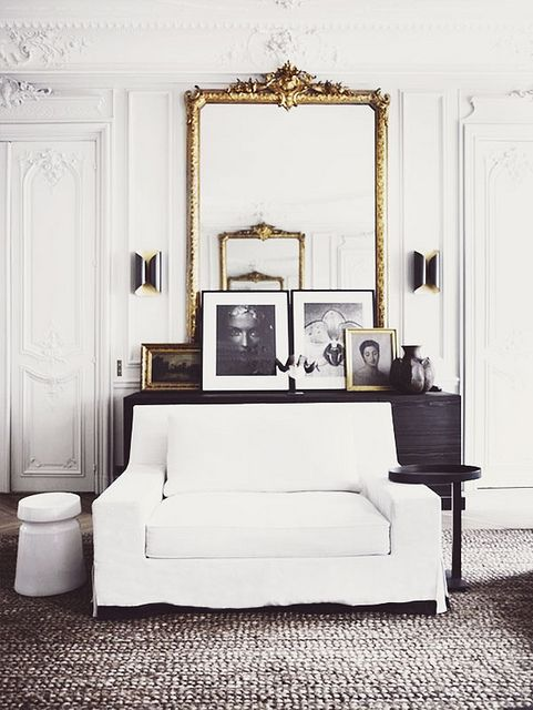 living.: Paris Apartment, Living Rooms, Gold Mirror, Interiors Design, White Rooms, Black White, Black Gold, House, White Gold