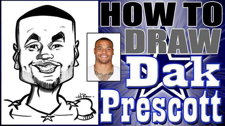 How to draw a quick caricature dak prescott how to draw for Dak prescott coloring pages