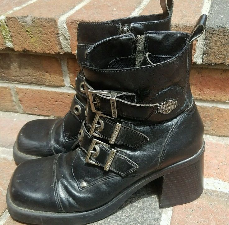 Harley Davidson Women's Bold Zip Motorcyle Boot Womens 9 Black Leather #84118 #HarleyDavidson #BikerBoots