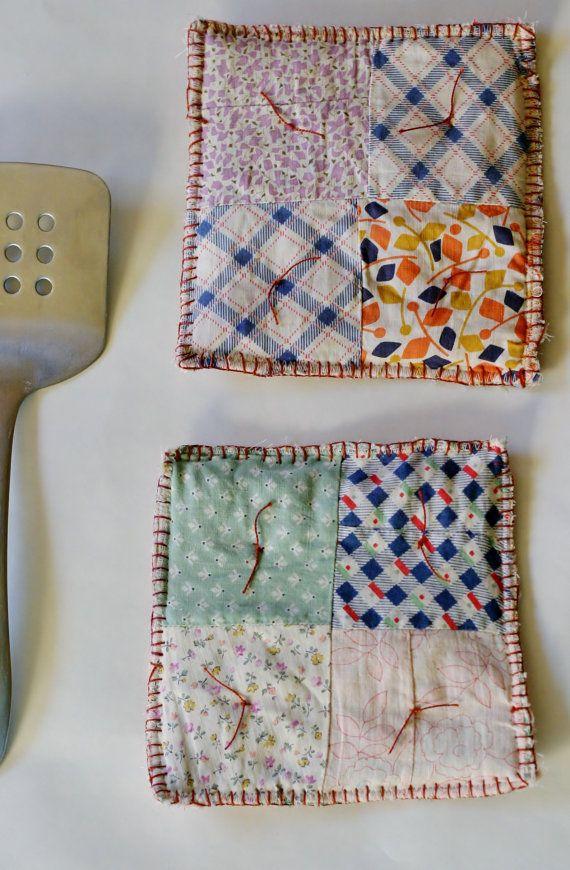 2 Vintage Quilt Potholders with Orange Blanket Stitch Edge and Ties