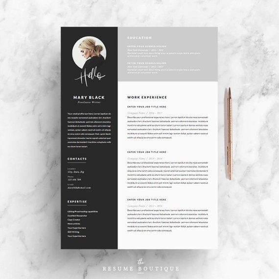 "Resume Template and Cover Letter + References Template for Word | DIY Printable 5 Pages | The ""Blackie"" 