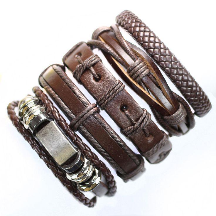 FL93-trendy brown metal men's fashion braided ethnic genuine leather wrap wristband wholesale bracelet(5pcs/lot)free shipping
