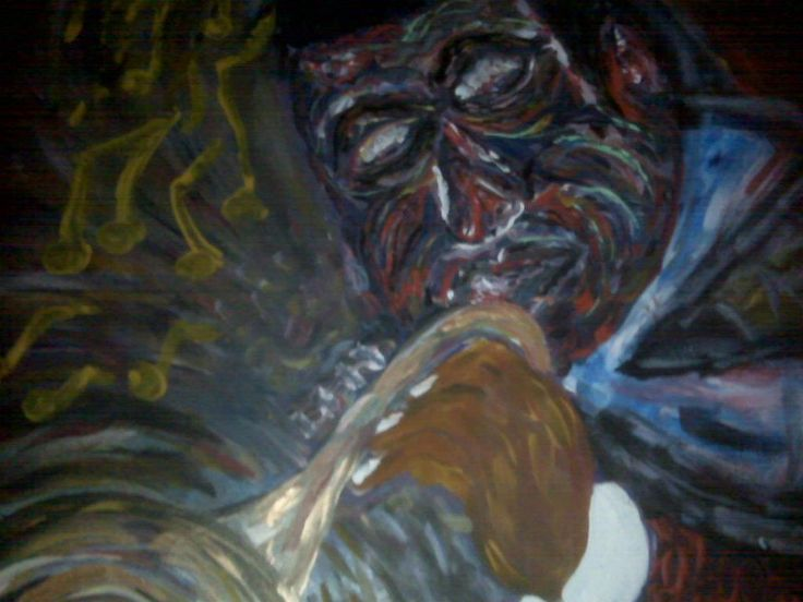 Louis Armstrong, Large Oil Painting by Harley Snively