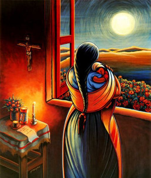 Simon Silva - Amor a todas horas - 20 X 25, 1991 Watching my beautiful wife take care of our son, I realized how much work it takes to raise a child. This is an homage for all the mother's in the world. In painting this image I regained what was lost through time, beautiful memories of love all times!:
