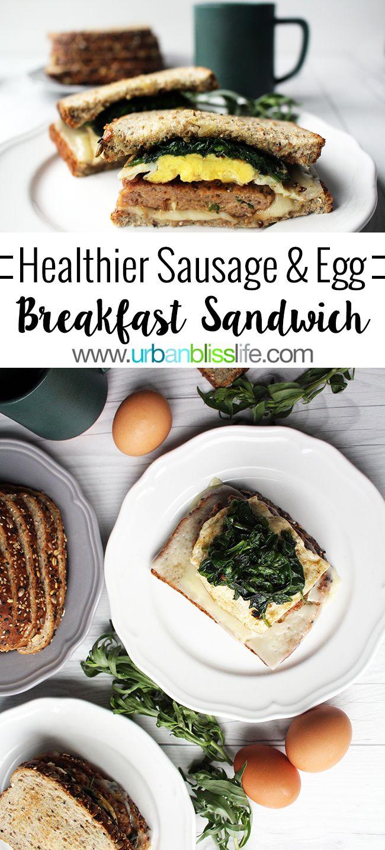 Healthier Sausage Egg Breakfast Sandwich recipe on UrbanBlissLife.com