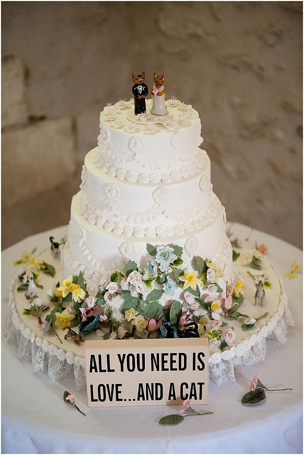 "Cat themed wedding cake ""All you need is love.... and a cat"" 