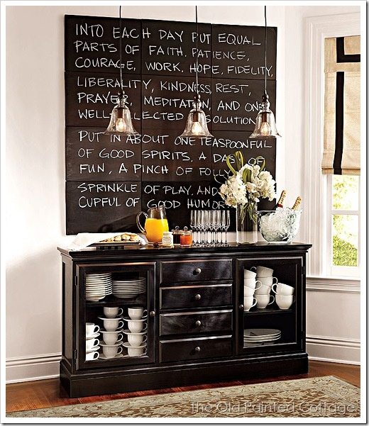 like the buffet and love the idea of the chalk board. i've always wanted to have my favorite saying on the wall, but it changes so often! would love to be able to change this with my moods.