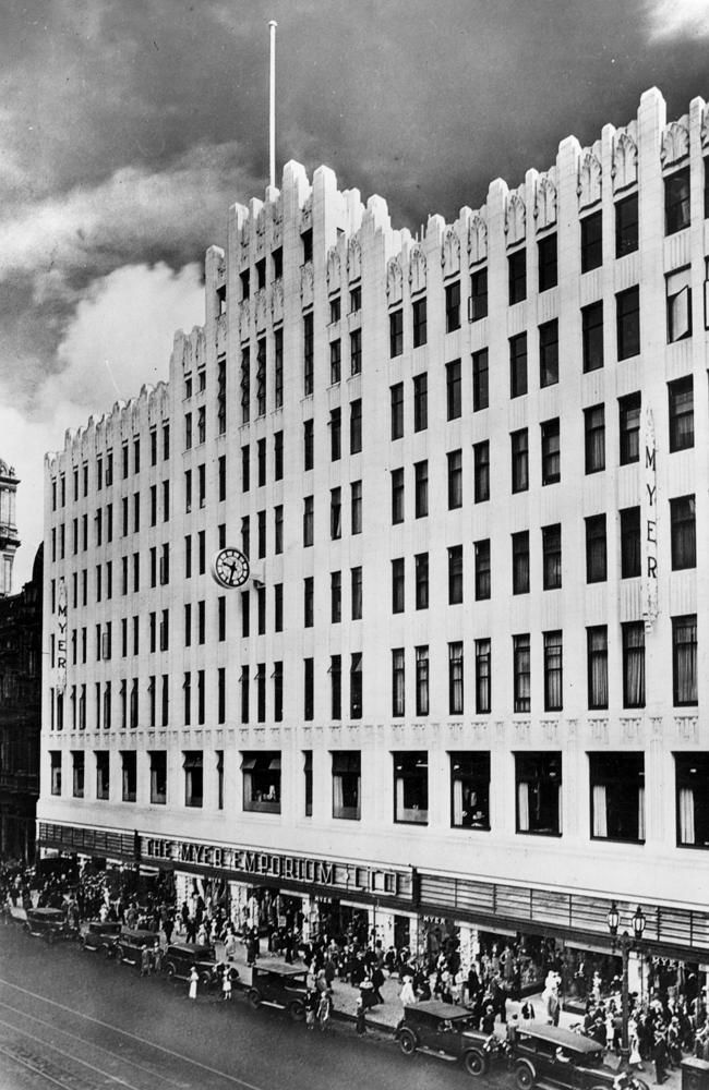 Exterior of the Myer Emporium, Bourke Street, Melbourne, 1937 (Napier Waller, Architects) Photo courtesy of the Herald Sun Image Library