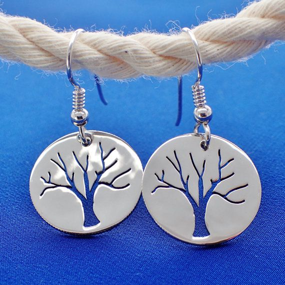 Tree of Life Silhouette Silver Dime Drop Earrings on Sterling