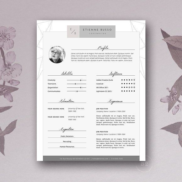Stylish Resume Template 4 MS Word by Botanica Paperie on @creativemarket Professional printable resume / cv cover letter template examples creative design and great covers, perfect in modern and stylish corporate business design. Modern, simple, clean, minimal and feminine style. Ready to print us letter and a4 layout inspiration to grab some ideas. In psd, indd, docs, ms word file format. #resume #cv #template #professional #word #modern #creative #design