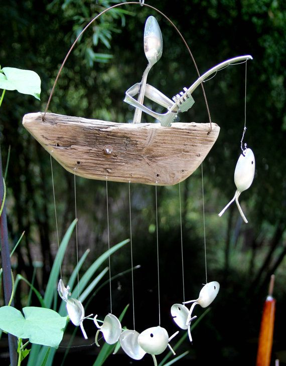 1000 images about recycle kunst on pinterest for Fish wind chimes