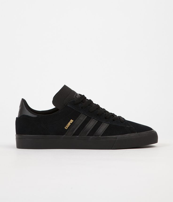 Adidas Campus Vulc II Shoes - Core Black / Core Black / Core Black. Black suede all day.