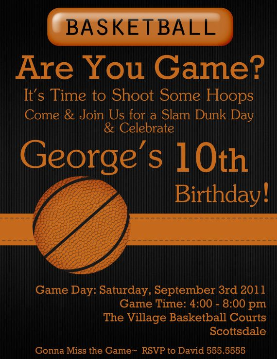 Basketball digital birthday invitation by stonelovedesigns on etsy