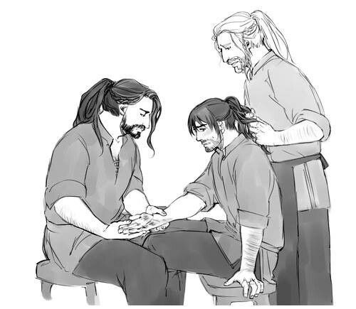 "Thorin looks at Kili's hand, which he burned in one of the forges. ""Hold still brother, let Uncle have a look. Does it hurt much, Kili?"" ""Yes...""  ""What did I tell you about the forges and being extra careful?"" ""I'm sorry, Uncle. I just got carried away. I'm sorry."""