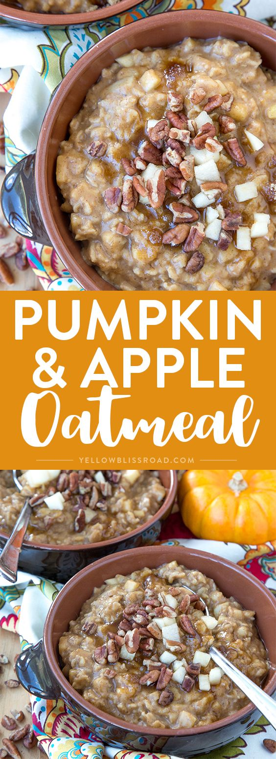 Pumpkin & Apple Oatmeal with pecans, brown sugar and pumpkin pie spice - the perfect fall breakfast for those cold and cozy mornings.