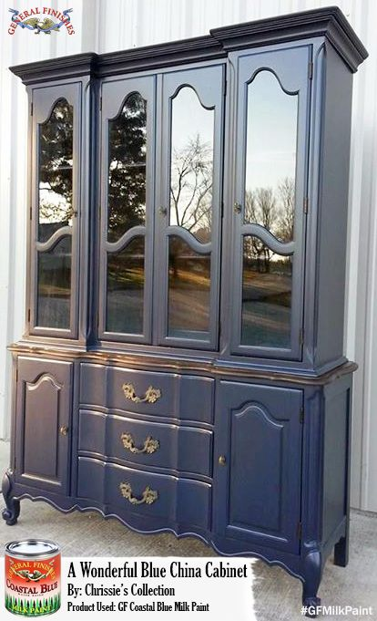 Chrissie's Collection, www.chrissiescollection.com, painted this china cabinet with GF Driftwood Milk Paint for a stunning and classic look. Stop by Chrissie's Collection at University Pickers in Huntsville, AL to purchase GF products!  #generalfinishes #gfmilkpaint #paintedfurniture