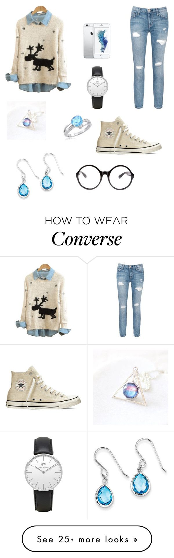 """""""Blue and pretty"""" by maibarkan on Polyvore featuring Current/Elliott, Converse, Daniel Wellington, Kevin Jewelers and Tobi"""