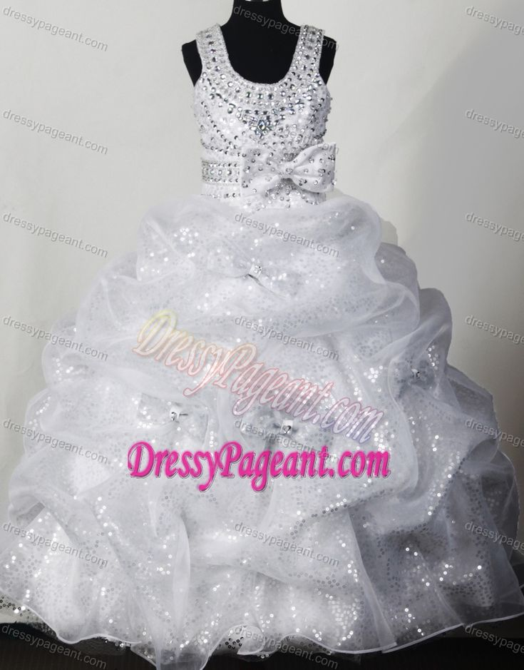 Magnificent Organza and Sequined White Beauty Pageant Dress with Bowknot