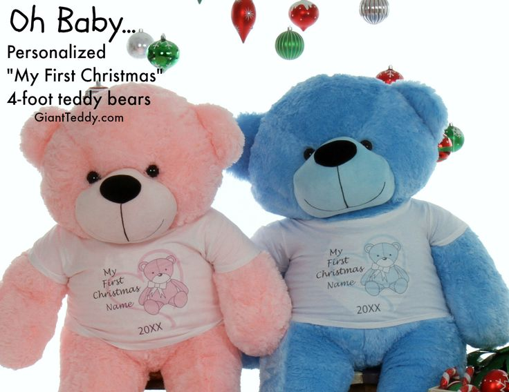 33 best personalized unique gifts giant teddy bears images on my first christmas personalized 4 foot teddy bear gift for baby in pink or blue negle Images